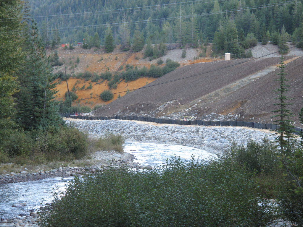 Tailings pile along Railroad Creek