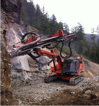 Pioneering a bench across the top of mountain slope in the spring of 2013 was the start of quarry development.